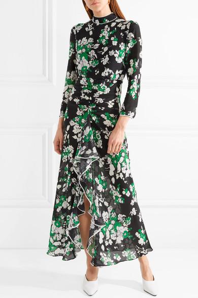 Online Ansehen Online-Shopping Online-Verkauf RIXO London Lucy Midikleid aus Crêpe de Chine aus Seide mit Blumendruck und Rüschen Wirklich Günstig Online PkPh9G
