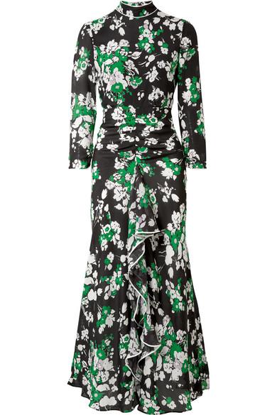 RIXO London Lucy Midikleid aus Crêpe de Chine aus Seide mit Blumendruck und Rüschen