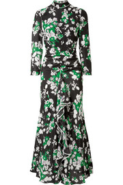 Lucy ruffled floral-print silk crepe de chine midi dress