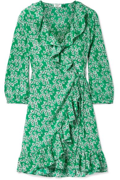 RIXO London Abigail Minikleid aus floral bedruckter Seide mit Rüschen und Wickeleffekt