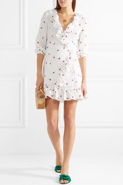 Abigal ruffled embroidered gauze wrap mini dress