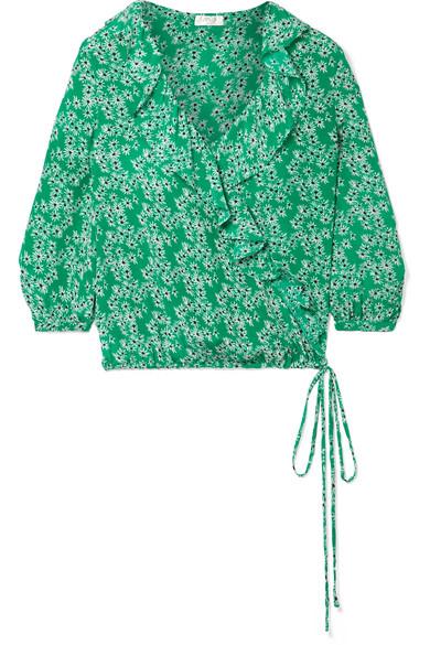 RIXO London Sofia Wickeloberteil aus Seide mit floralem Print und Rüschen
