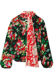 Angie pussy-bow floral-print silk crepe de chine blouse