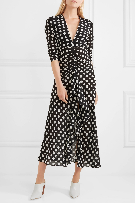 RIXO Adriana ruffled polka-dot silk-crepe midi dress