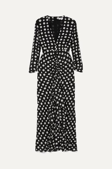 Adriana Ruffled Polka-dot Silk-crepe Midi Dress - Black Rixo London gLuV7TBRFF