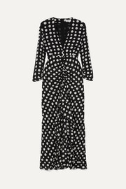 Adriana ruffled polka-dot silk-crepe midi dress