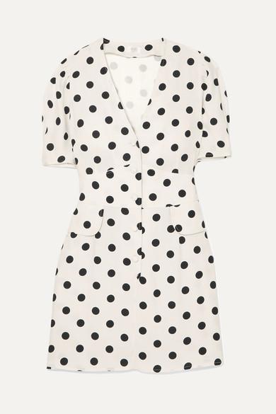 Buy Cheap New Arrival Fashion Style Cheap Online Laura Polka-dot Crepe Mini Dress - White Rixo London Stockist Online Cheap Sale Looking For zeK80xOXa