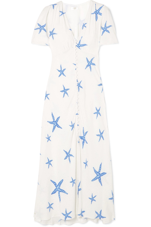 RIXO Jade printed crepe de chine midi dress
