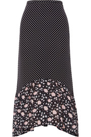 RIXO London Leandra polka-dot silk-crepe midi skirt