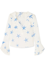 RIXO London Jane ruffle-trimmed printed silk-crepe blouse