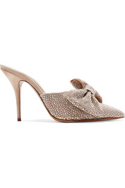Alexandre Vauthier Kate crystal and bow-embellished suede mules
