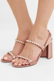 Faux pearl-embellished satin sandals