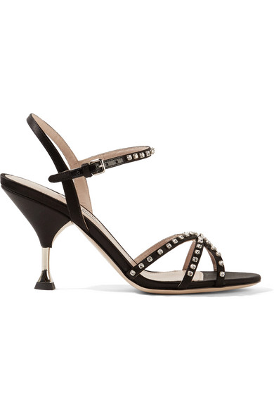 Stiletto Heel Jeweled Leather Sandals in Black