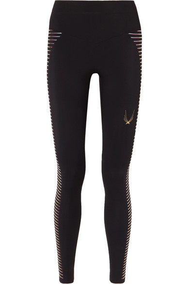 LUCAS HUGH Odyssey Mesh-Paneled Stretch Leggings in Black