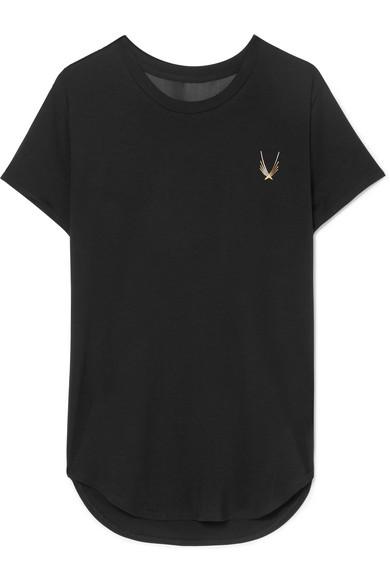LUCAS HUGH Kubrick Mesh-Paneled Stretch T-Shirt in Black