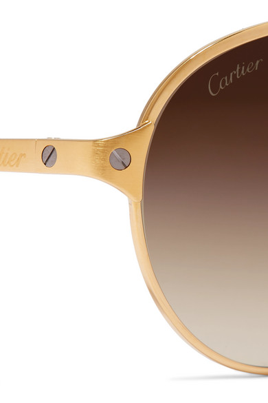 Cartier Eyewear | Aviator-style gold-plated and textured-leather ...