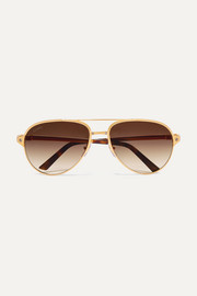 Cartier Eyewear Aviator-style gold-plated and textured-leather sunglasses