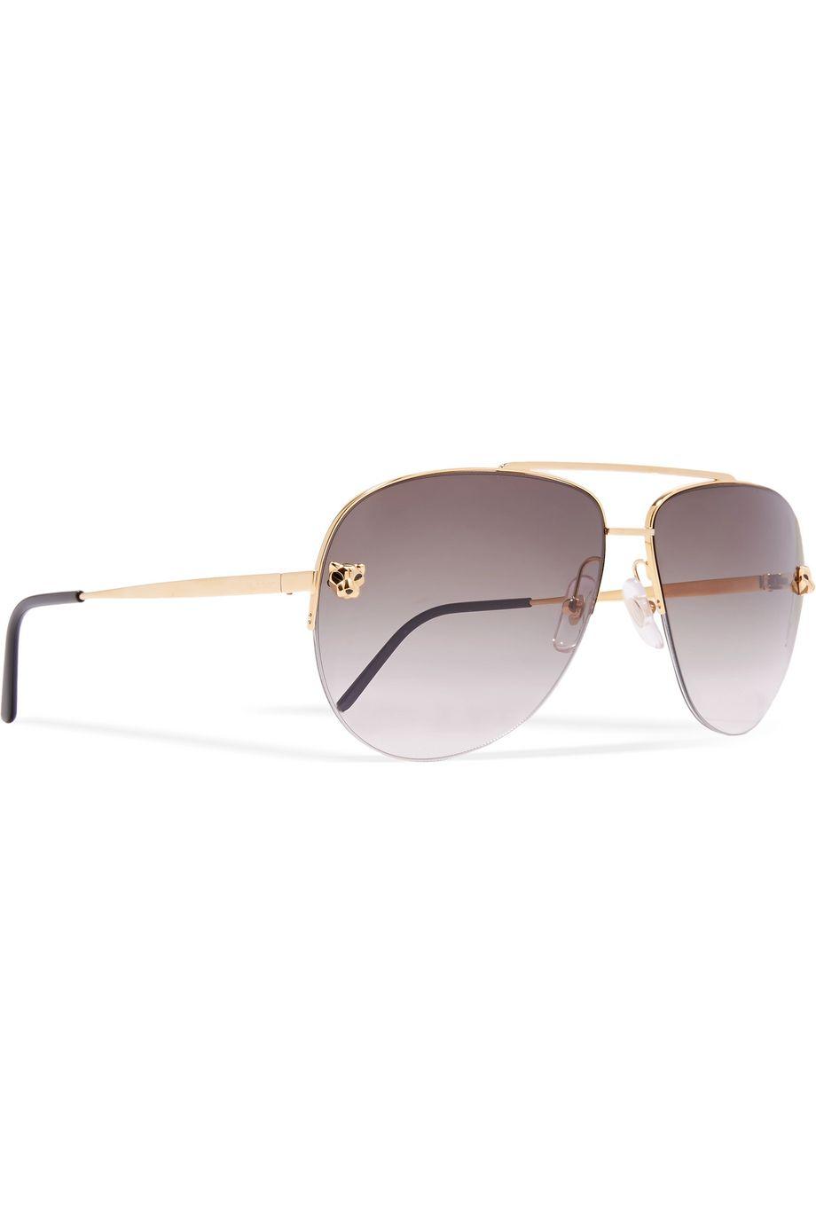 Cartier Eyewear Panthère aviator-style gold-plated sunglasses