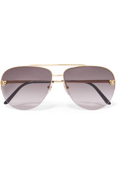 d8d1e48f550 Cartier Eyewear. Panthère aviator-style gold-plated sunglasses