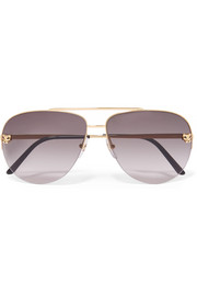 Cartier Eyewear Panthère aviator-style gold-plated sunglasses