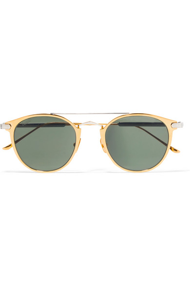 Round-frame gold-plated and silver-tone sunglasses