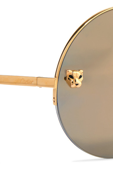 Cartier Eyewear | Panthère round-frame gold-plated mirrored ...