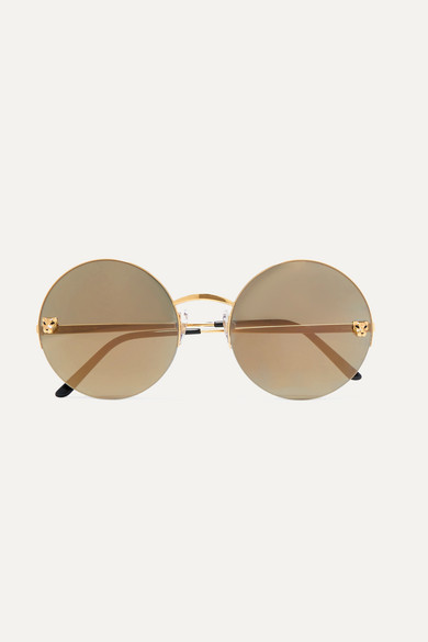 Panthère round-frame gold-plated mirrored sunglasses