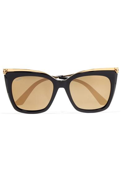 Cartier Eyewear   Lunettes de soleil carrées en acétate et en plaqué or  Panthère   NET-A-PORTER.COM 4c9234c9be14