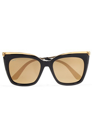 Panthère square-frame acetate and gold-plated sunglasses