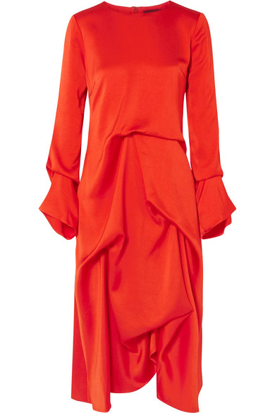 Sies Marjan - Noemi Draped Silk-satin Midi Dress - Crimson