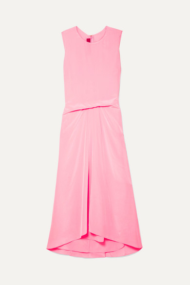 Sies Marjan - Lottie Pick Up Silk Crepe De Chine Midi Dress - Pink