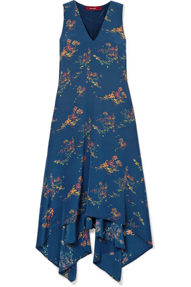 Sies Marjan - Asymmetric Printed Crepe De Chine Midi Dress - Navy