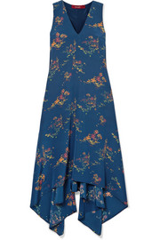 Sies Marjan Asymmetric printed crepe de chine midi dress