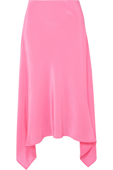 Sies Marjan - Exclusive Asymmetric Silk Crepe De Chine Midi Skirt - Pink