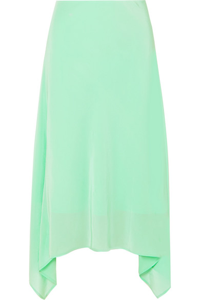 Sies Marjan - Asymmetric Silk Crepe De Chine Midi Skirt - Light green
