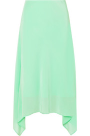 EXCLUSIVE Asymmetric silk crepe de chine midi skirt