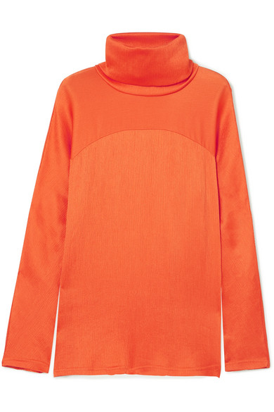 Sies Marjan - Plissé-satin Turtleneck Top - Orange