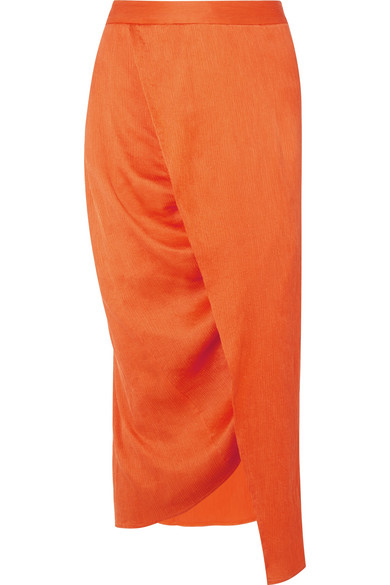 Sies Marjan - Wrap-effect Plissé Silk-satin Midi Skirt - Orange