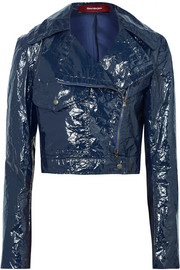 EXCLUSIVE Annabelle cropped crinkled-vinyl biker jacket