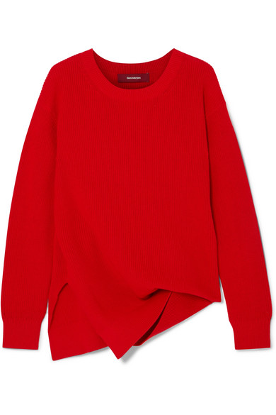 Sies Marjan - Fern Pickup Asymmetric Cotton Sweater - Crimson
