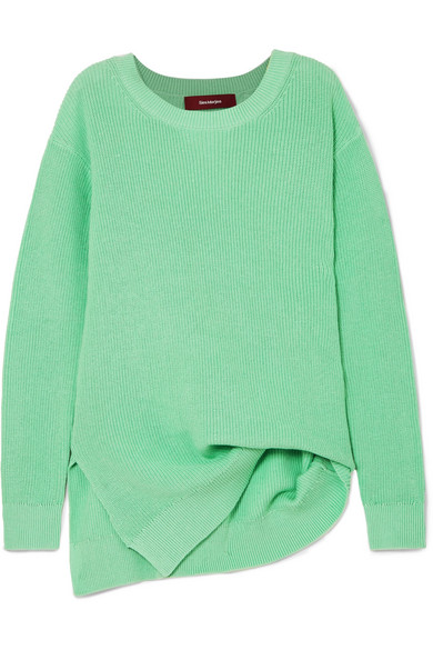 Sies Marjan - Exclusive Fern Pickup Asymmetric Cotton Sweater - Light green