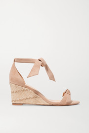 Clarita bow-embellished suede espadrille wedge sandals