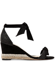 Clarita bow-embellished suede and raffia espadrille wedge sandals