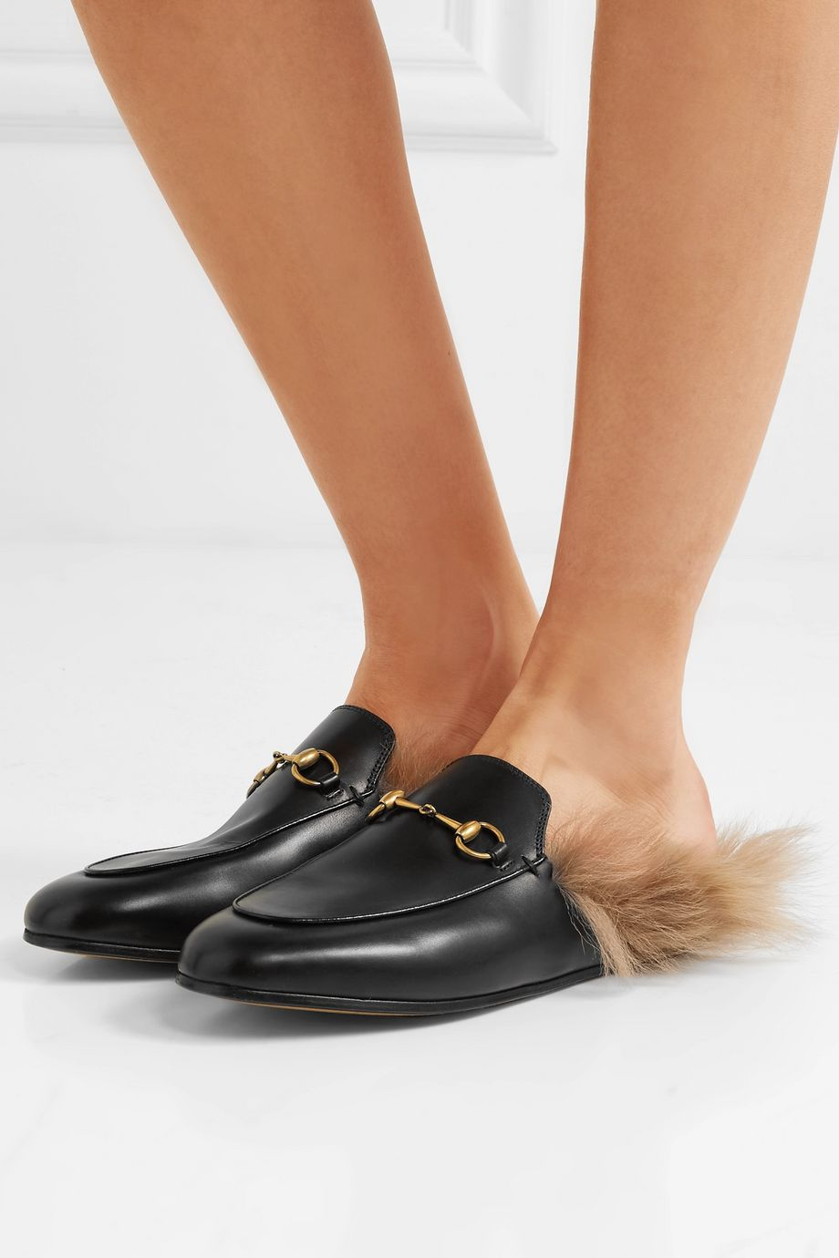Gucci Princetown horsebit-detailed shearling-lined leather slippers