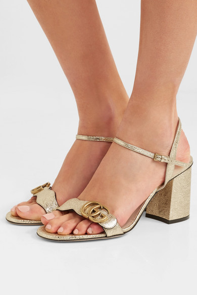 7e096d2824a Marmont logo-embellished metallic cracked-leather sandals