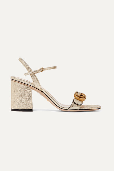 1c7202220457 Gucci - Marmont Logo-embellished Metallic Cracked-leather Sandals - Gold