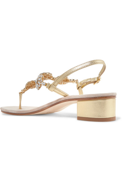 Crystal-embellished Leather Sandals - White Musa London Free Shipping Cheapest S3yUl