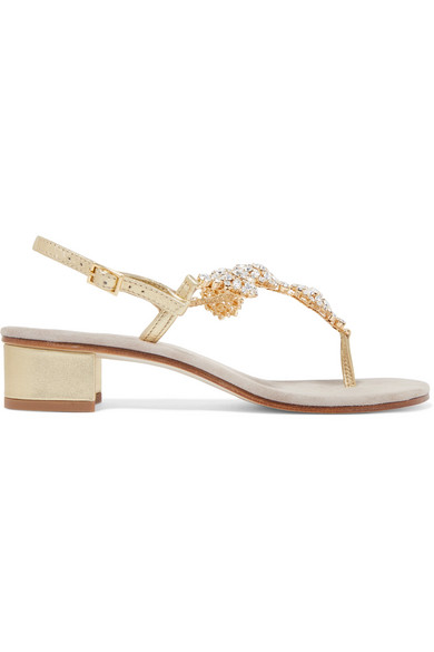 Crystal-embellished Leather Sandals - White Musa London gE295A