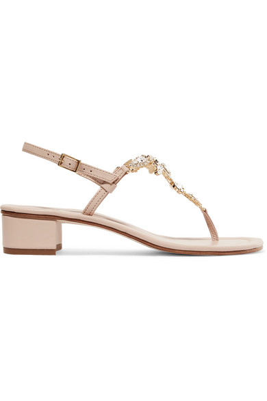 MUSA Crystal-Embellished Leather Sandals in Blush