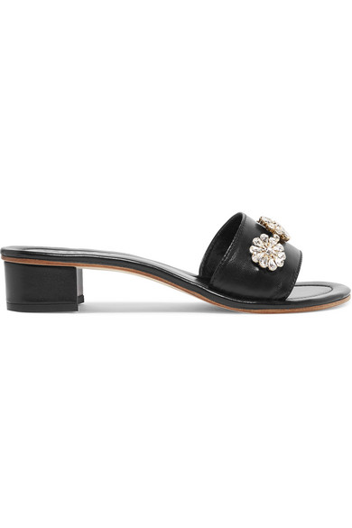 MUSA Crystal-Embellished Leather Mules in Black